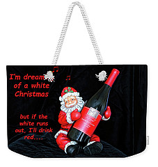 Weekender Tote Bag featuring the photograph I'll Drink Red At Christmas by Kay Brewer