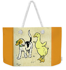 Illustration Of Puppy And Gosling Weekender Tote Bag