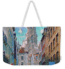 Weekender Tote Bag featuring the photograph In-spired  Street Scene Brussels by Leigh Kemp