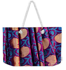 Weekender Tote Bag featuring the photograph Indian Silk Sari Pattern by Tim Gainey