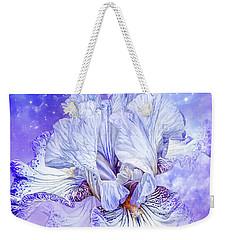 Weekender Tote Bag featuring the mixed media Iris - Goddess Of Dreams by Carol Cavalaris