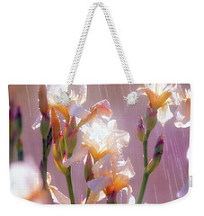 Weekender Tote Bag featuring the photograph Iris In Rain by Leland D Howard