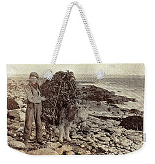 Weekender Tote Bag featuring the painting Its A Long Long Way To America by Val Byrne