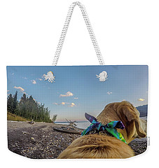 Weekender Tote Bag featuring the photograph Jackson Lake By Photo Dog Jackson by Matthew Irvin