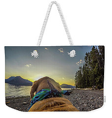 Weekender Tote Bag featuring the photograph Jackson Lake Sunset By Photo Dog Jackson by Matthew Irvin