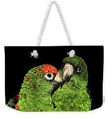 Weekender Tote Bag featuring the photograph Jardine's Parrots by Debbie Stahre