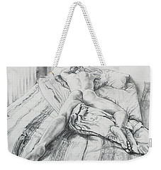 Jeremy On The Bed Weekender Tote Bag