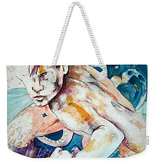 Weekender Tote Bag featuring the painting Justice League Aqua Lad  by Rene Capone