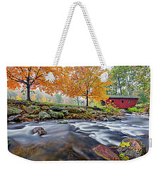 Weekender Tote Bag featuring the photograph Kent Falls Autumn 2018 by Bill Wakeley