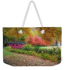 Weekender Tote Bag featuring the photograph Kent Falls Covered Bridge by Bill Wakeley