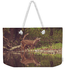 Weekender Tote Bag featuring the photograph Kissing Deer Reflection by Dan Sproul