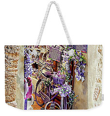 Weekender Tote Bag featuring the photograph Lavender Shop Pienza by Dorothy Berry-Lound
