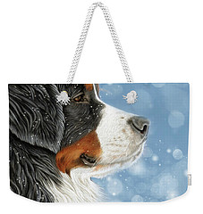 Weekender Tote Bag featuring the mixed media Let It Snow - Arctic Blue by Donna Mulley