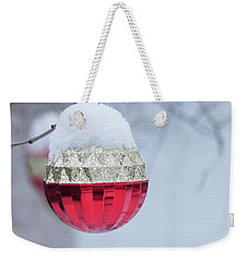 Weekender Tote Bag featuring the photograph Let It Snow On The Red Christmas Ball - Outside Winter Scene  by Cristina Stefan