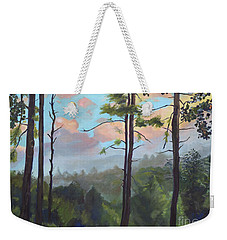 Weekender Tote Bag featuring the painting Lifting My Soul At Pink Knob - In Elliay by Jan Dappen