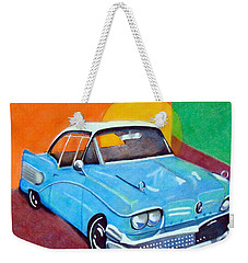 Light Blue 1950s Car  Weekender Tote Bag