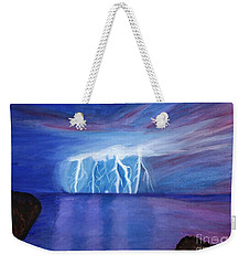 Lightning On The Sea At Night Weekender Tote Bag