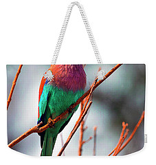 Weekender Tote Bag featuring the photograph Lilac Breasted Roller by John Rodrigues