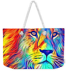 Weekender Tote Bag featuring the mixed media Lion Of Judah by Jessica Eli