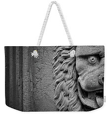 Weekender Tote Bag featuring the photograph Lion Statue Portrait by Nathan Bush