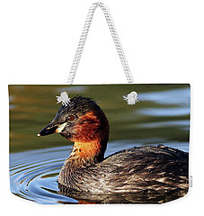 Weekender Tote Bag featuring the photograph Little Grebe In Pond by Grant Glendinning
