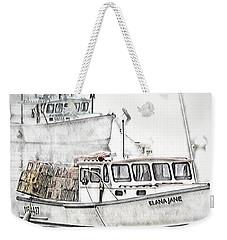 Weekender Tote Bag featuring the digital art Lobster Boat - Mount Desert Island by Pennie McCracken