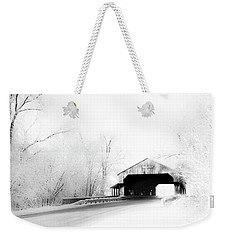 Weekender Tote Bag featuring the photograph Lockport Covered Bridge by Michael Arend