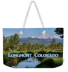 Weekender Tote Bag featuring the photograph Longmont Colorado Twin Peaks View Poster by James BO Insogna