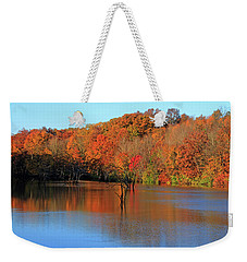 Weekender Tote Bag featuring the photograph Looking Out Over Alum Creek by Angela Murdock