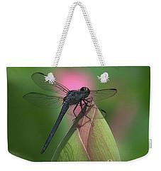 Lotus Bud And Slaty Skimmer Dragonfly Dl0006 Weekender Tote Bag
