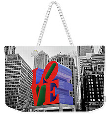Weekender Tote Bag featuring the photograph Love In The City - Philadelphia In Black And White With Selective Color by Bill Cannon