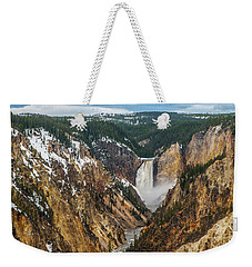 Weekender Tote Bag featuring the photograph Lower Yellowstone Falls - Horizontal by Matthew Irvin