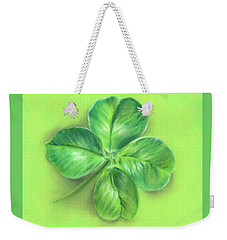 Weekender Tote Bag featuring the pastel Lucky Four Leaf Clover by MM Anderson