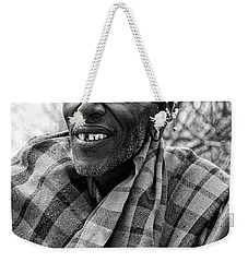 Weekender Tote Bag featuring the photograph Maasai Chieftain In Black And White by Kay Brewer