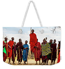 Weekender Tote Bag featuring the photograph Maasai Jumping Dance by Kay Brewer
