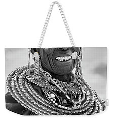 Weekender Tote Bag featuring the photograph Maasai Woman In Black And White by Kay Brewer
