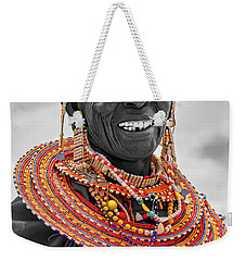Weekender Tote Bag featuring the photograph Maasai Woman In Selective Color by Kay Brewer
