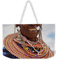 Weekender Tote Bag featuring the photograph Maasai Woman In Tanzania by Kay Brewer