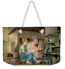 Weekender Tote Bag featuring the photograph Machinist - Spending Time With Grandpa 1921 by Mike Savad