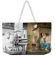 Weekender Tote Bag featuring the photograph Machinist - Spending Time With Grandpa 1921 - Side By Side by Mike Savad