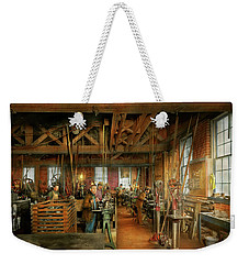 Weekender Tote Bag featuring the photograph Machinist - The Glazier Stove Company 1900 by Mike Savad