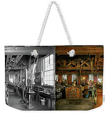 Weekender Tote Bag featuring the photograph Machinist - The Glazier Stove Company 1900 - Side By Side by Mike Savad