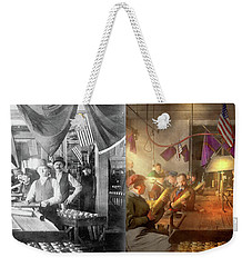 Weekender Tote Bag featuring the photograph Machinist - War - Meanwhile In The Bomb Factory 1912 - Side By Side by Mike Savad