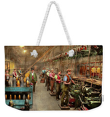Weekender Tote Bag featuring the photograph Machinist - War - The Shell Dept 1900 by Mike Savad