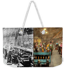 Weekender Tote Bag featuring the photograph Machinist - War - The Shell Dept 1900 - Side By Side by Mike Savad