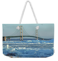 Weekender Tote Bag featuring the photograph Mackinac Bridge In Ice 2161801 by Rick Veldman