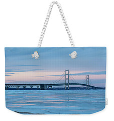 Weekender Tote Bag featuring the photograph Mackinac Bridge In Ice 2161803 by Rick Veldman