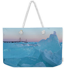 Weekender Tote Bag featuring the photograph Mackinac Bridge In Ice 2161805 by Rick Veldman