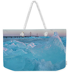 Weekender Tote Bag featuring the photograph Mackinac Bridge In Ice 2161806 by Rick Veldman