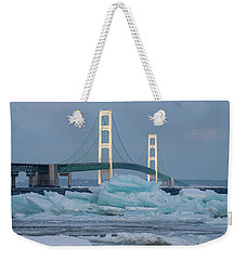Weekender Tote Bag featuring the photograph Mackinac Bridge In Ice 2161809 by Rick Veldman